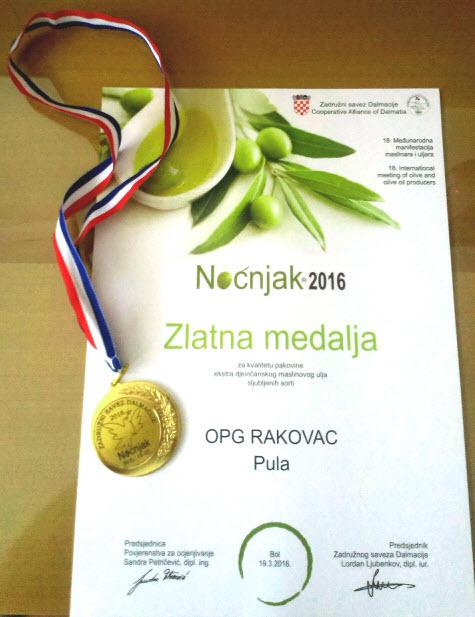 Zlatna medalja Nocnjak 2016