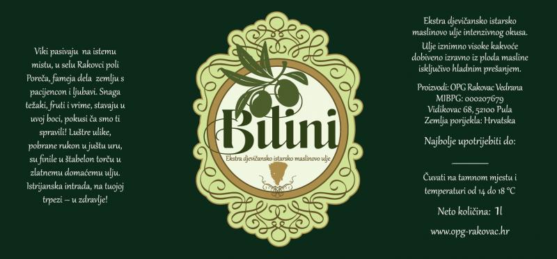 Etikett von extra nativem Olivenöl Bilini