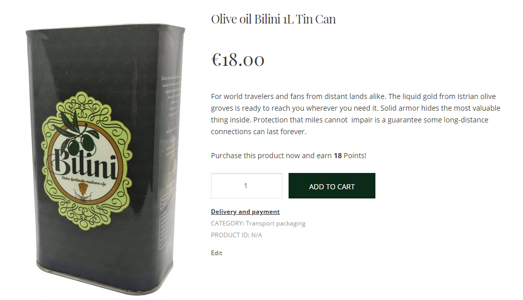 olive oil in tin can